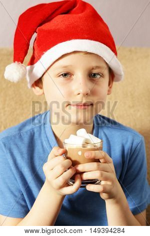 Boy in santa hat drinking hot cocoa with marshmallows