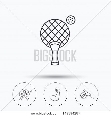 Target, table tennis and biceps icons. Gymnastics for pregnant linear sign. Linear icons in circle buttons. Flat web symbols. Vector
