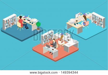 Woman Sews On The Sewing Machine. Isometric Room Interior. Flat 3D Object.