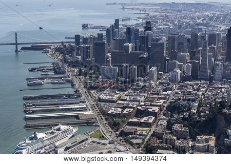 San Francisco, California, USA - September 19, 2016:  Afternoon aerial view of San Francisco piers and towers.