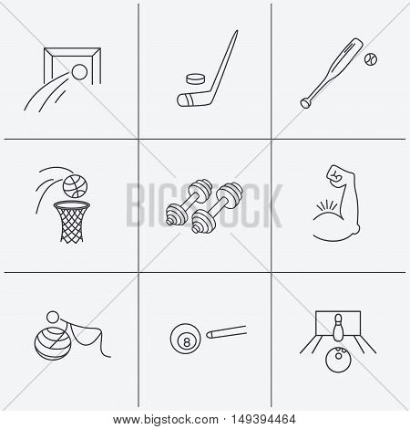 Football, ice hockey and fitness sport icons. Basketball, muscle and bowling linear signs. Billiards and gymnastics for pregnant icons. Linear icons on white background. Vector