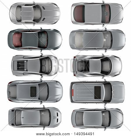 Set of Top view cars on white background 3D illustration