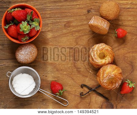 homemade pastries, sweet muffins with powdered sugar