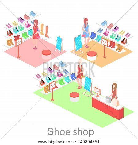 Isometric Interior Shoe Shop