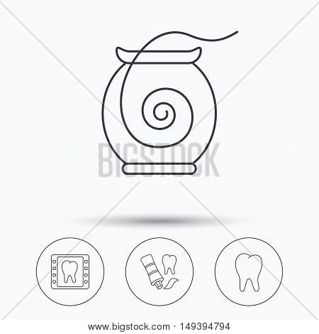 Dental floss, tooth and toothpaste icons. Dental X-ray linear sign. Linear icons in circle buttons. Flat web symbols. Vector