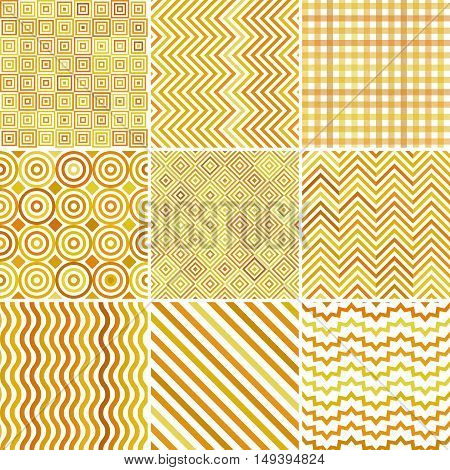 Set Of Abstract Yellow Background, 9 Geometric Pattern, Vector Illustration. Texture Can Be Used For