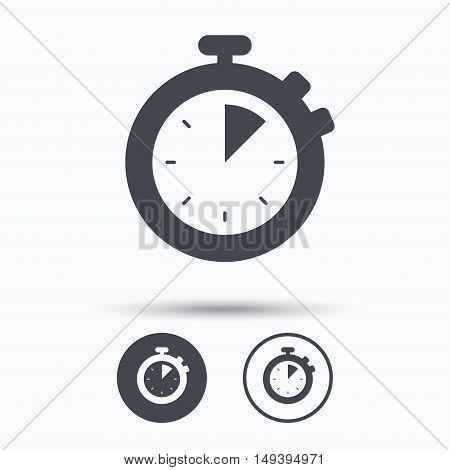 Stopwatch icon. Timer or clock device symbol. Circle buttons with flat web icon on white background. Vector