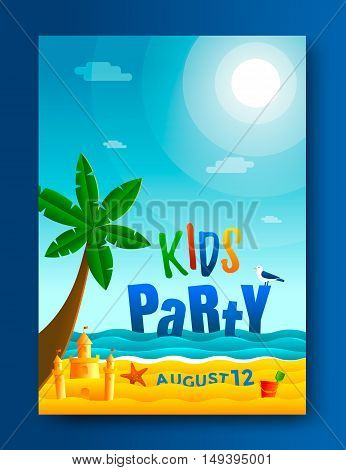 Kids beach party poster template. Seascape vector illustration