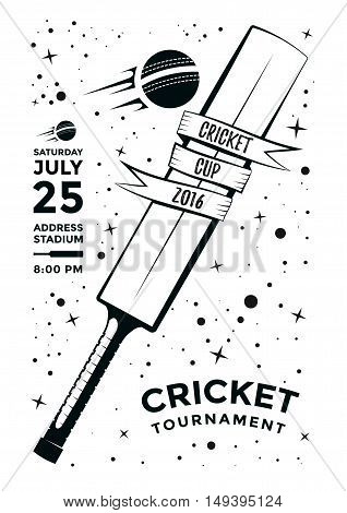 Cricket tournament poster design with bat and ball. Vector template