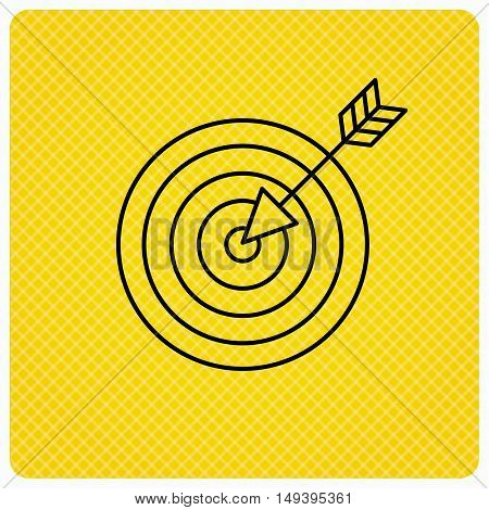 Target with arrow icon. Dart aim sign. Linear icon on orange background. Vector