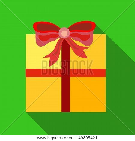 Gift box with ribbon and bow christmas star, vector