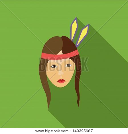 Girl american indians icon in flat style isolated with long shadow vector illustration