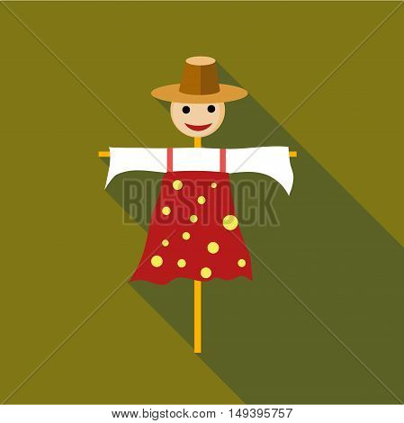 Scarecrow icon in flat style isolated with long shadow vector illustration