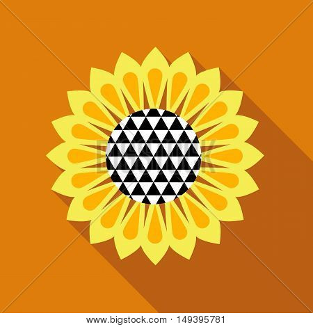 Sunflower icon in flat style isolated with long shadow vector illustration