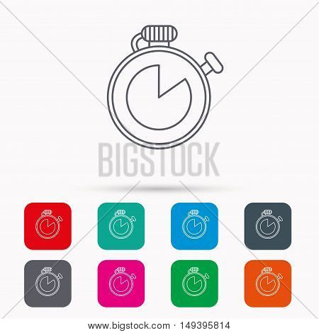 Timer icon. Stopwatch sign. Sport competition symbol. Linear icons in squares on white background. Flat web symbols. Vector