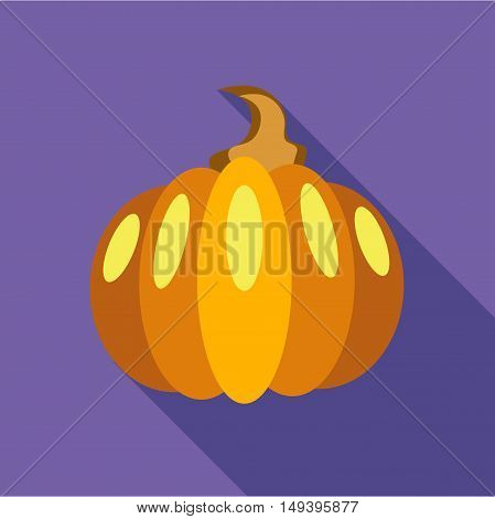 Thanksgiving pumpkin icon in flat style isolated with long shadow vector illustration