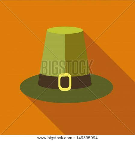 Pilgrim hat icon in flat style isolated with long shadow vector illustration