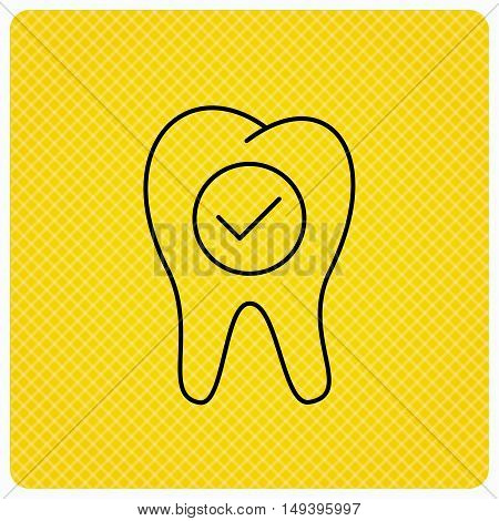 Check tooth icon. Stomatology sign. Dental care symbol. Linear icon on orange background. Vector