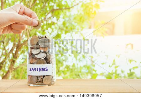 Coins stack and hand holding the coin for saving finance conceptbusiness backgroundmoney content and selective focus.