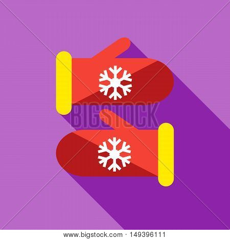 Knitted christmas mittens icon in flat style isolated with long shadow vector illustration