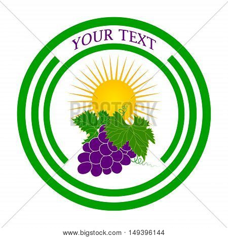 Vector logo grapes and the sun as a template for the design of labels stickers signs.