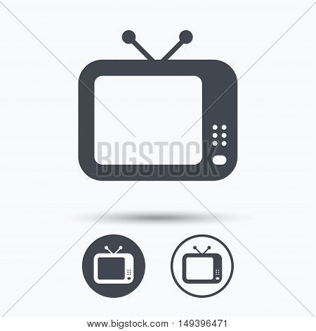 TV icon. Retro television symbol. Circle buttons with flat web icon on white background. Vector