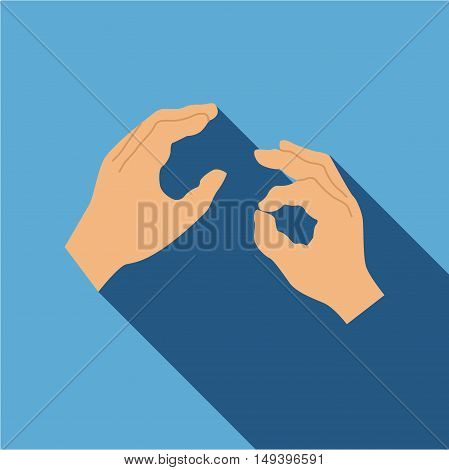 Hand sign language icon in flat style isolated with long shadow vector illustration