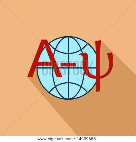 World translation icon in flat style isolated with long shadow vector illustration