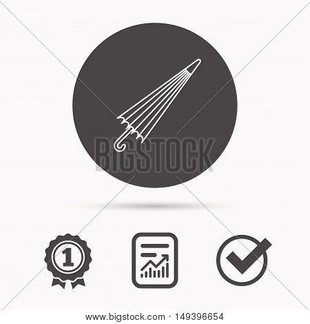 Umbrella icon. Water protection sign. Rainy weather symbol. Report document, winner award and tick. Round circle button with icon. Vector