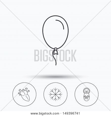 Newborn, heart and air balloon icons. Snowflake linear sign. Linear icons in circle buttons. Flat web symbols. Vector