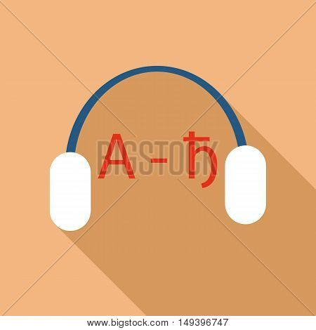 Headphones for language learning icon in flat style isolated with long shadow vector illustration