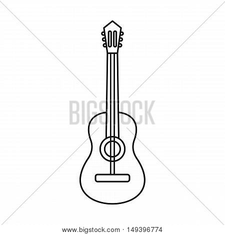 Acoustic guitar icon in outline style isolated on white background vector illistration