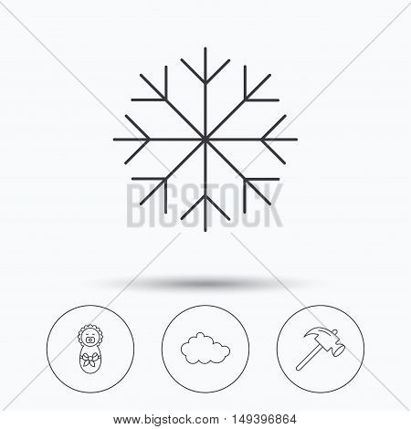 Newborn, cloud and snowflake icons. Hammer linear sign. Linear icons in circle buttons. Flat web symbols. Vector