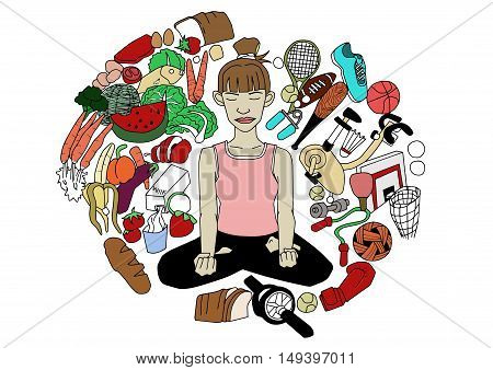 healthy lifestyle with healthy eating and exercise illustration