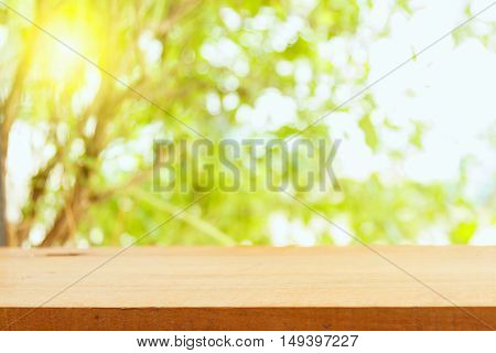 Summer background with wooden planks Perspective wood and sun light background. product display template
