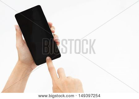 Touch Screen Smart Phone, Tablet,cellphone Isolated On White Background,hand Holding And Touch On Bl
