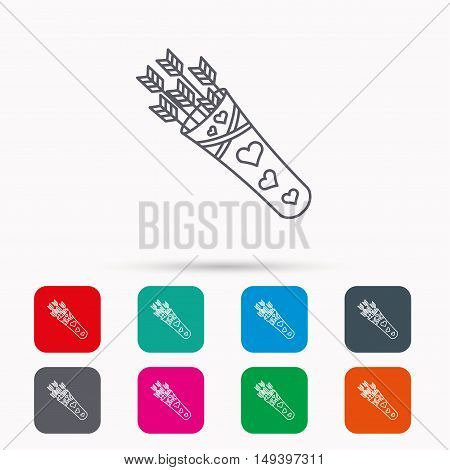 Cupid arrows icon. Love weapon sign. Linear icons in squares on white background. Flat web symbols. Vector