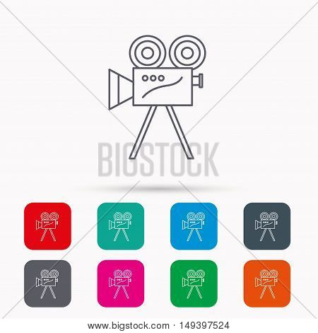 Video camera with reel icon. Retro cinema sign. Linear icons in squares on white background. Flat web symbols. Vector