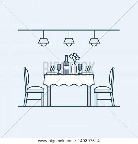 Modern interior dining room with table and chairs and served with two people. Bottle of wine and glasses. The lighting on the ceiling. Vector illustration in linear style, isolated on gray background