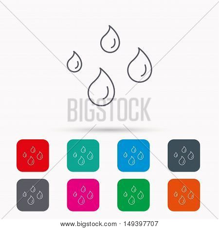 Water drops icon. Rain or washing sign. Rainy day symbol. Linear icons in squares on white background. Flat web symbols. Vector