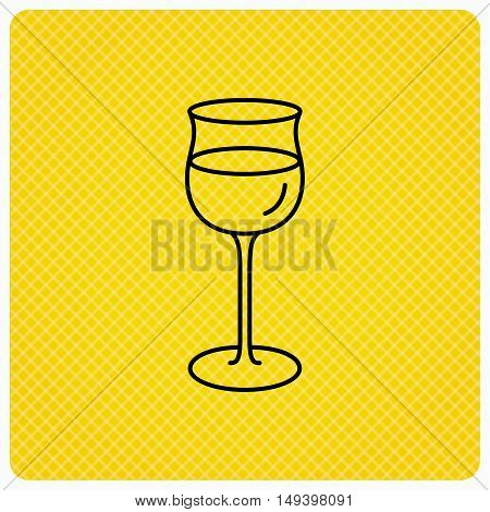 Wineglass icon. Goblet sign. Alcohol drink symbol. Linear icon on orange background. Vector