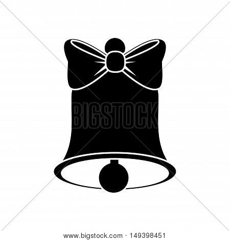 Bell with bowtie icon. Ring sound and decoration theme. Isolated design. Vector illustration