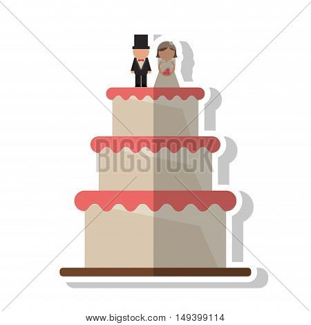 Wedding cake icon. marriage love and celebration theme. Isolated design. Vector illustration