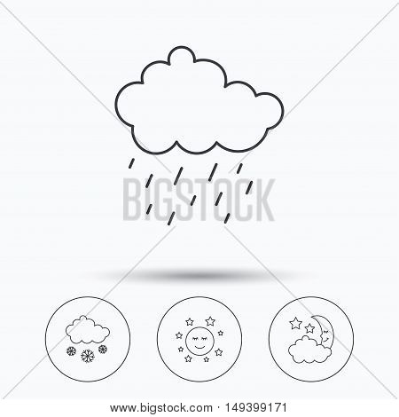 Weather, night and rain icons. Moon night and snow linear signs. Linear icons in circle buttons. Flat web symbols. Vector