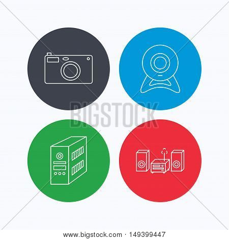Photo camera, pc case and music center icons. Web camera linear sign. Linear icons on colored buttons. Flat web symbols. Vector