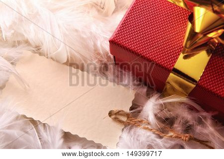 Red Gift Box Detail With Tag On Feathers Top Wiew