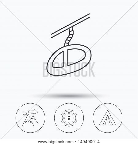 Mountain and teleferic icons. Compass linear sign. Linear icons in circle buttons. Flat web symbols. Vector
