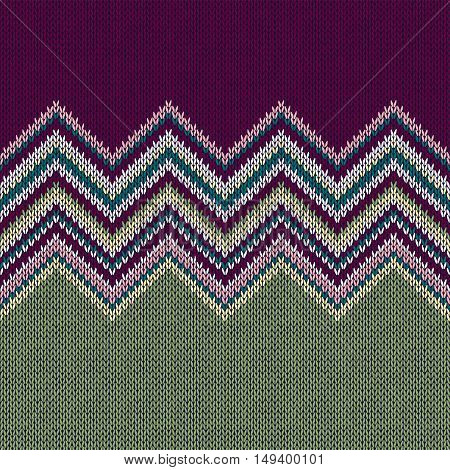 Seamless Ethnic Geometric Knitted Pattern. Violet Yellow Green Horizontal Seamless Background