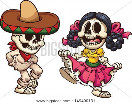 Mexican dancing skeletons. Vector clip art illustration with simple gradients. Each on a separate layer.