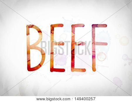 Beef Concept Watercolor Word Art